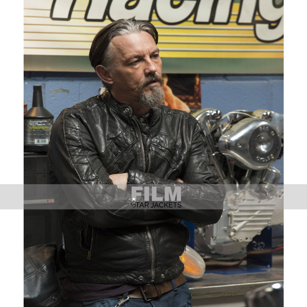 SONS OF ANARCHY TOMMY FLANAGAN BLACK LEATHER JACKET