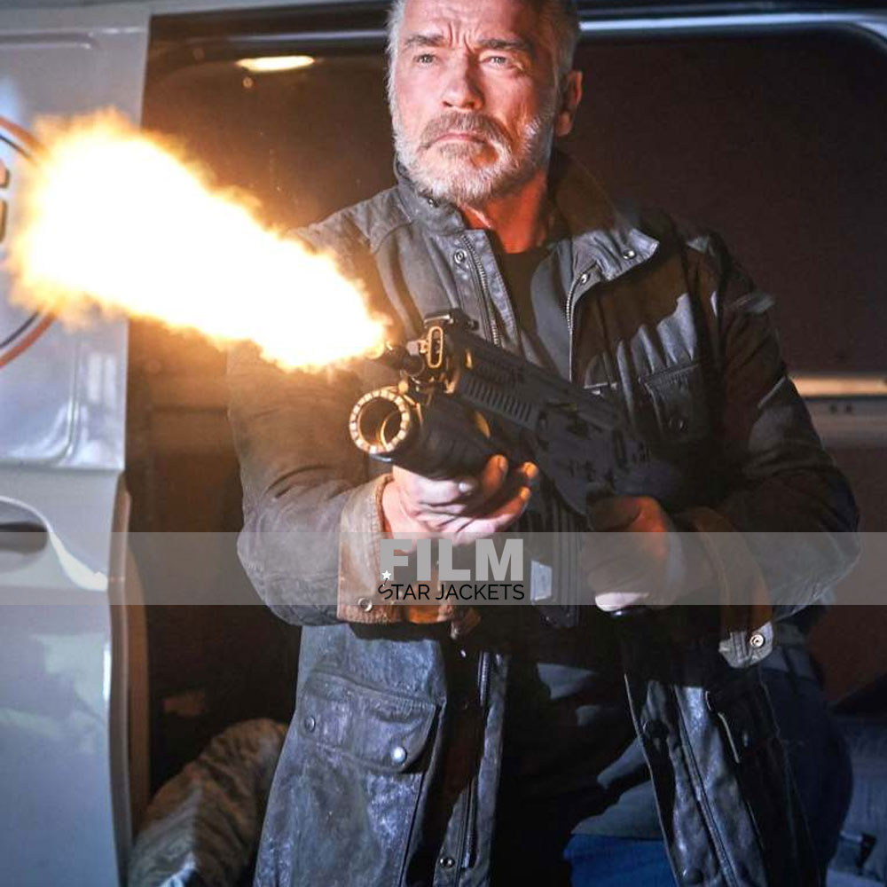 ARNOLD SCHWARZENEGGER TERMINATOR DARK FATE LEATHER JACKET