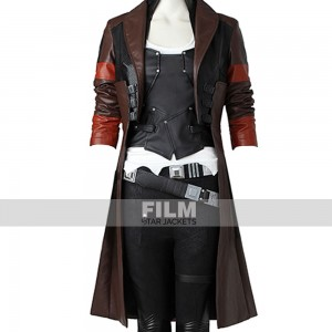 GUARDIANS OF GALAXY ZOE SALDANA LEATHER COAT