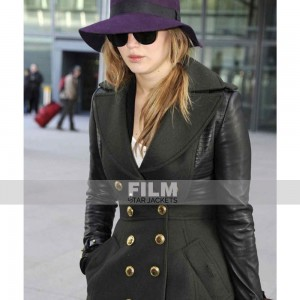 JENNIFER LAWRENCE TRENCH LEATHER COAT