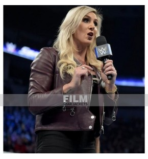 CHARLOTTE FLAIR WWE BROWN LEATHER JACKET