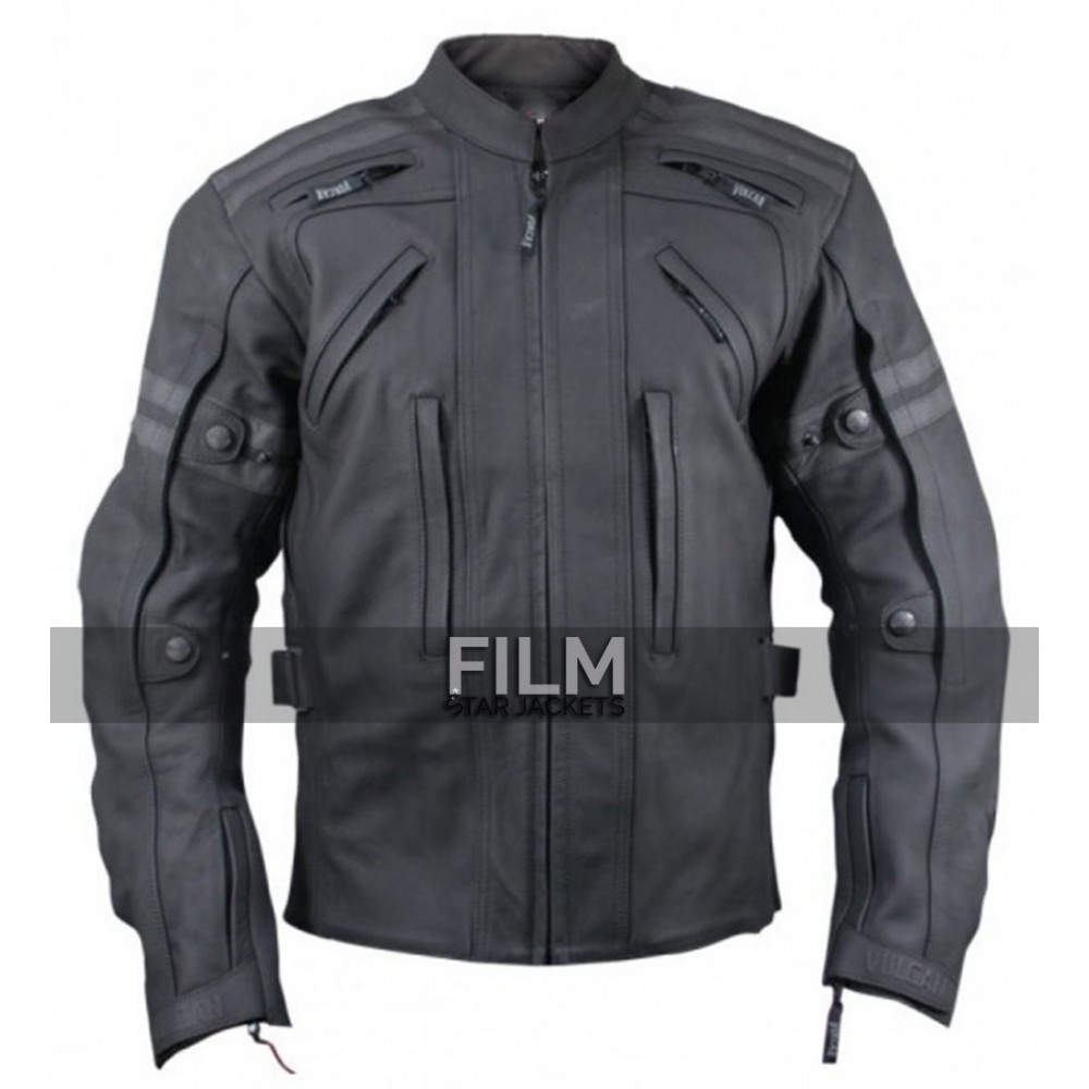Arnik Armoured Black Motorycle Riding Leather Jacket