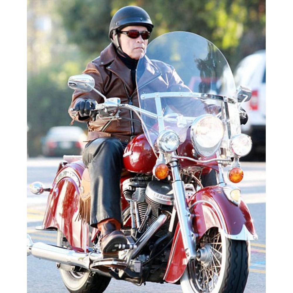 Arnold Schwarzenegger Brown Biker Jacket