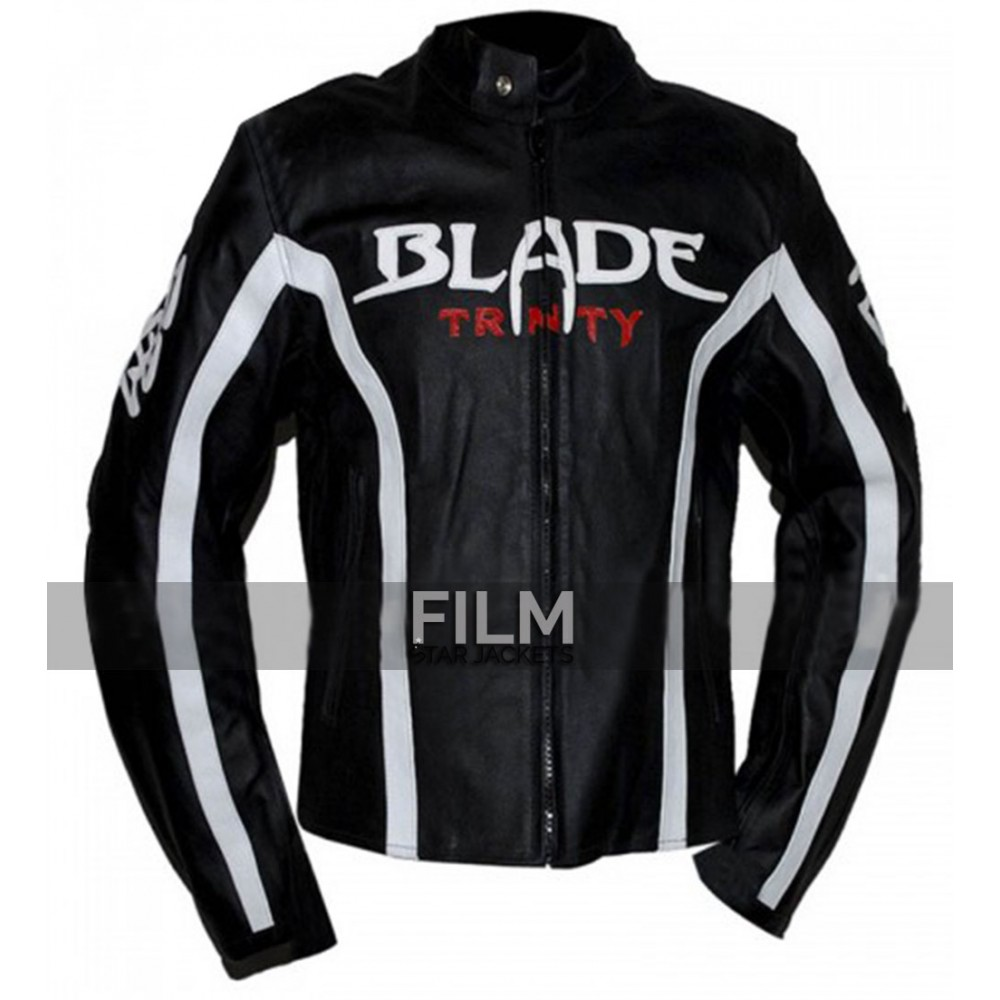 Blade Movie Trinity Motorcycle Black Leather Jacket