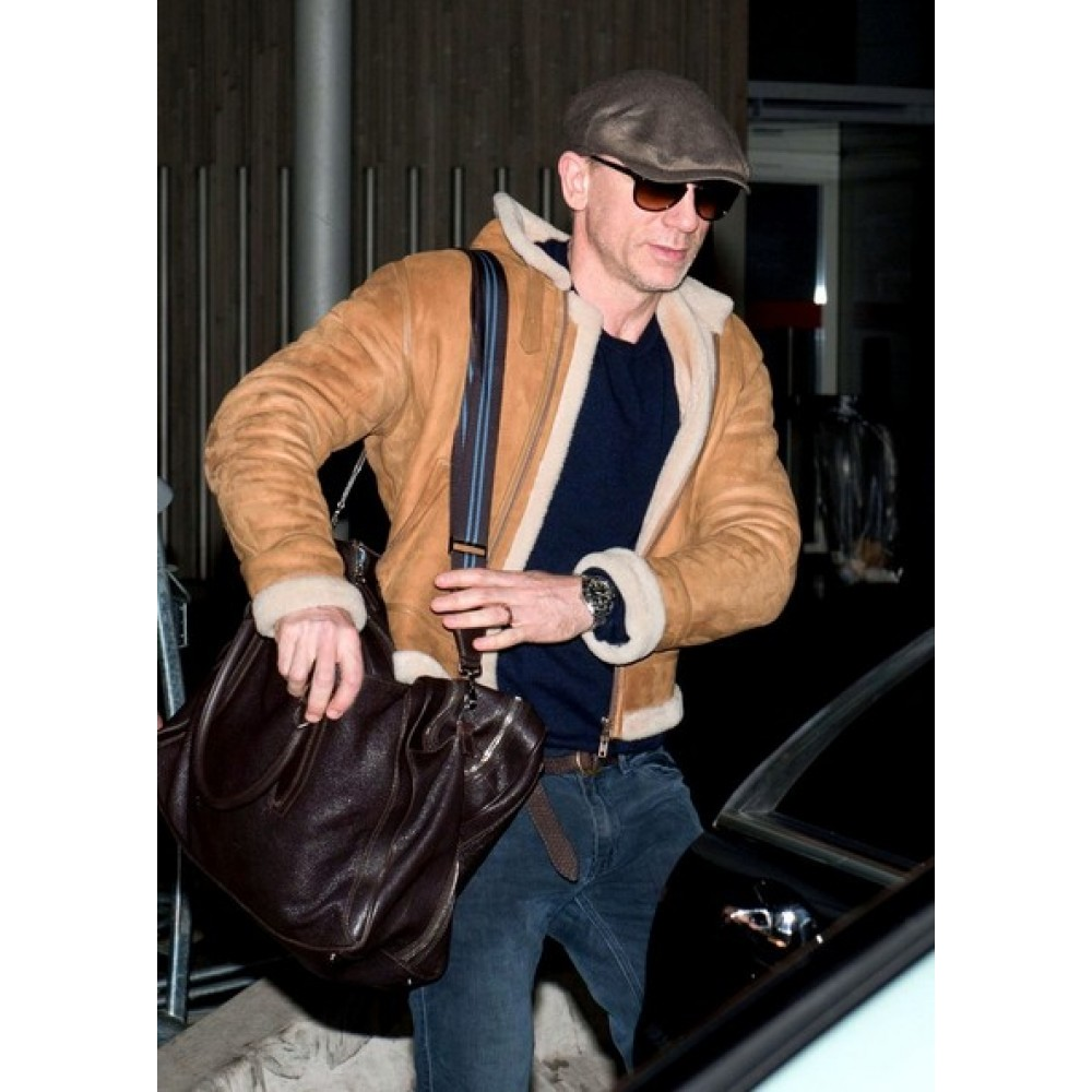 Daniel Craig Shearling Brown Jacket