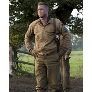 Fury Brad Pitt Tanker WW2 Khaki Cotton Bomber Jacket