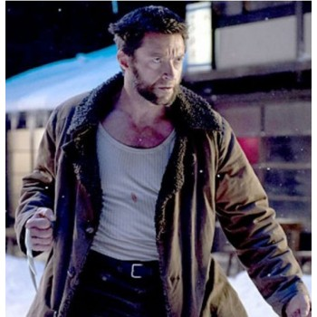 The Wolverine 2013 Brown Trench Fur Coat