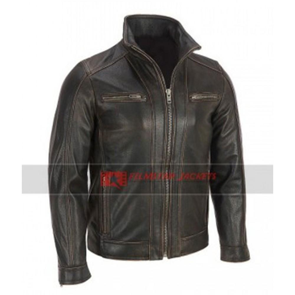 Mens Black Rivet Faded-Seam Jacket