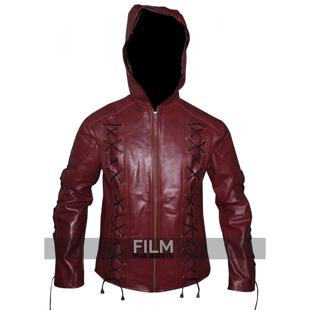 Arrow Season 3 Roy Harper Maroon Hooded Costume Jacket