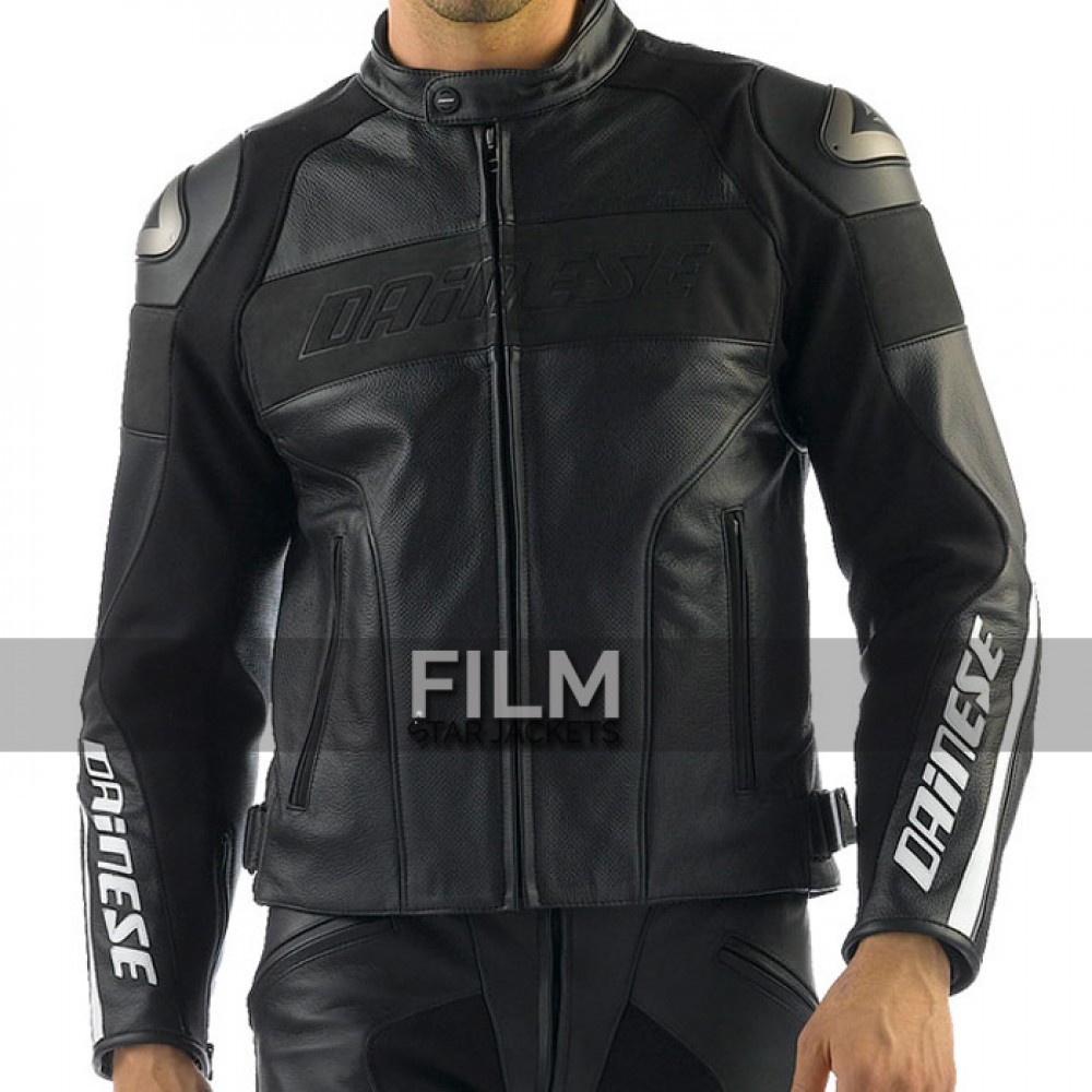 Dainese Racing Leather Motorcycle Black Jacket