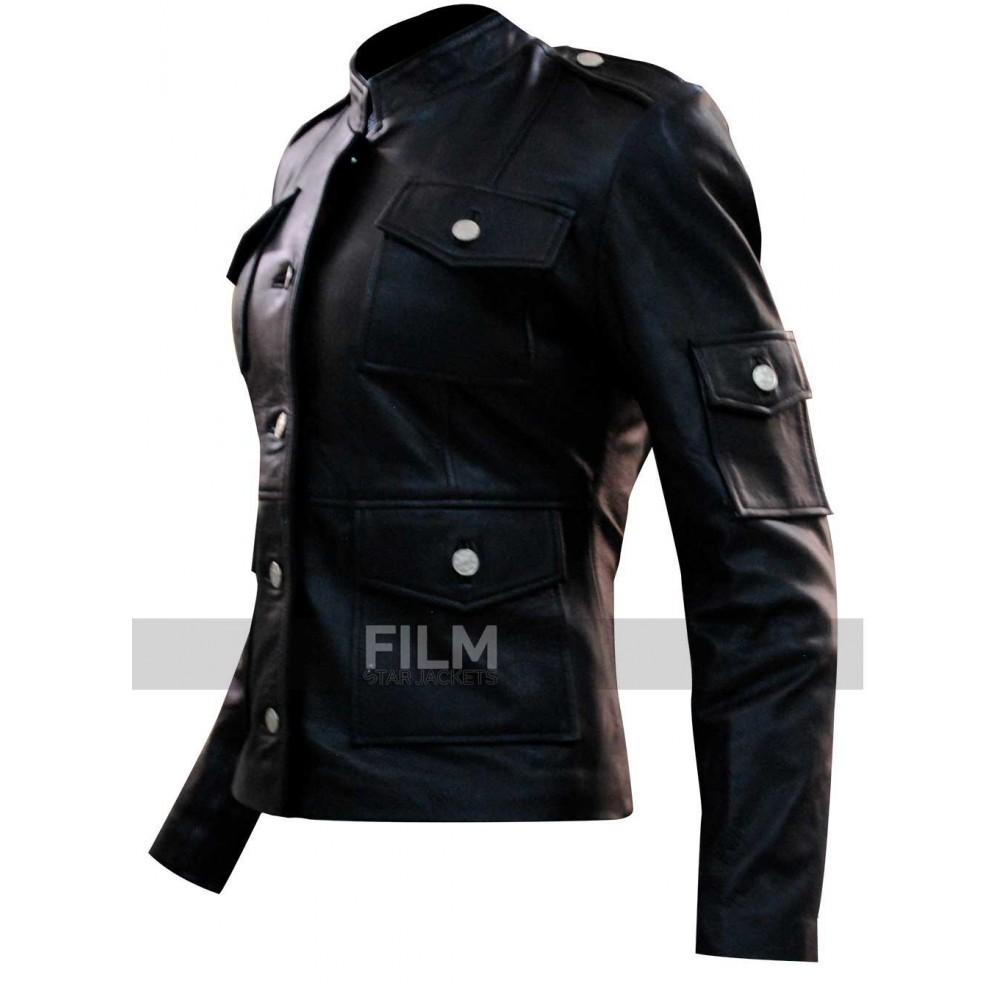 Get Smart Anne Hathaway Black Sheep Leather Jacket