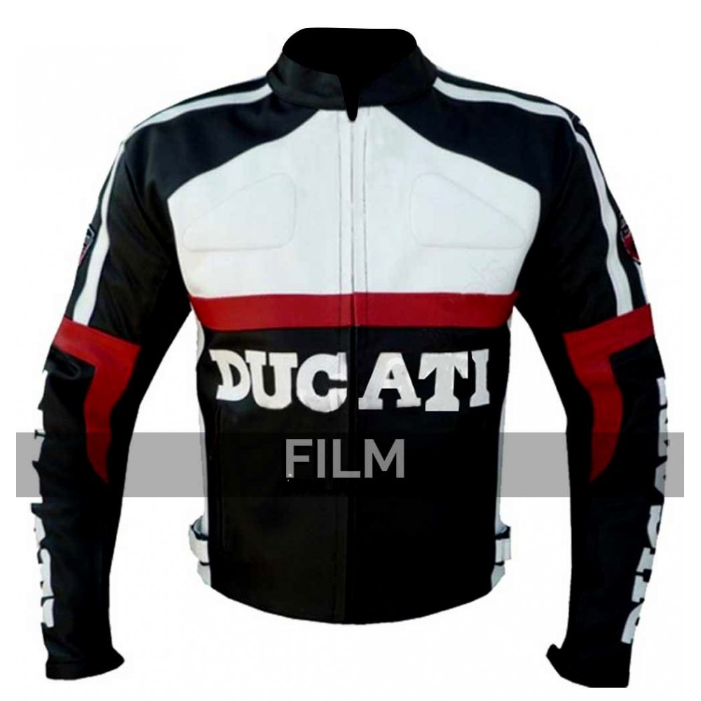 Black and White Ducati Corse Biker Leather Jacket