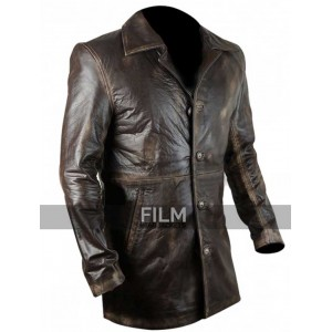Slim Fit Distressed Brown Leather Blazer For Men
