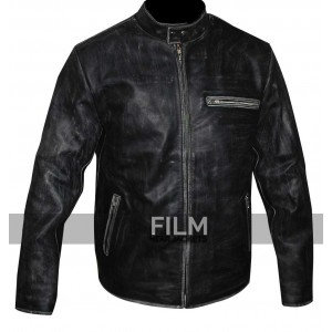 Tom Cruise Vyrus Distressed Biker Black Leather Jacket