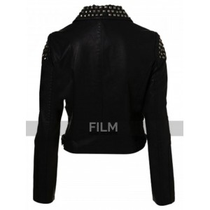 WWE Paige Black Studded Biker Jacket