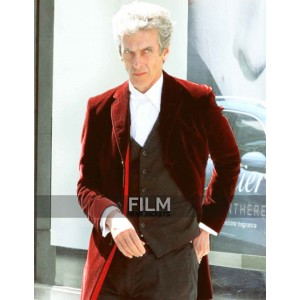 Peter Capaldi 12th Doctor Who Maroon Velvet Coat