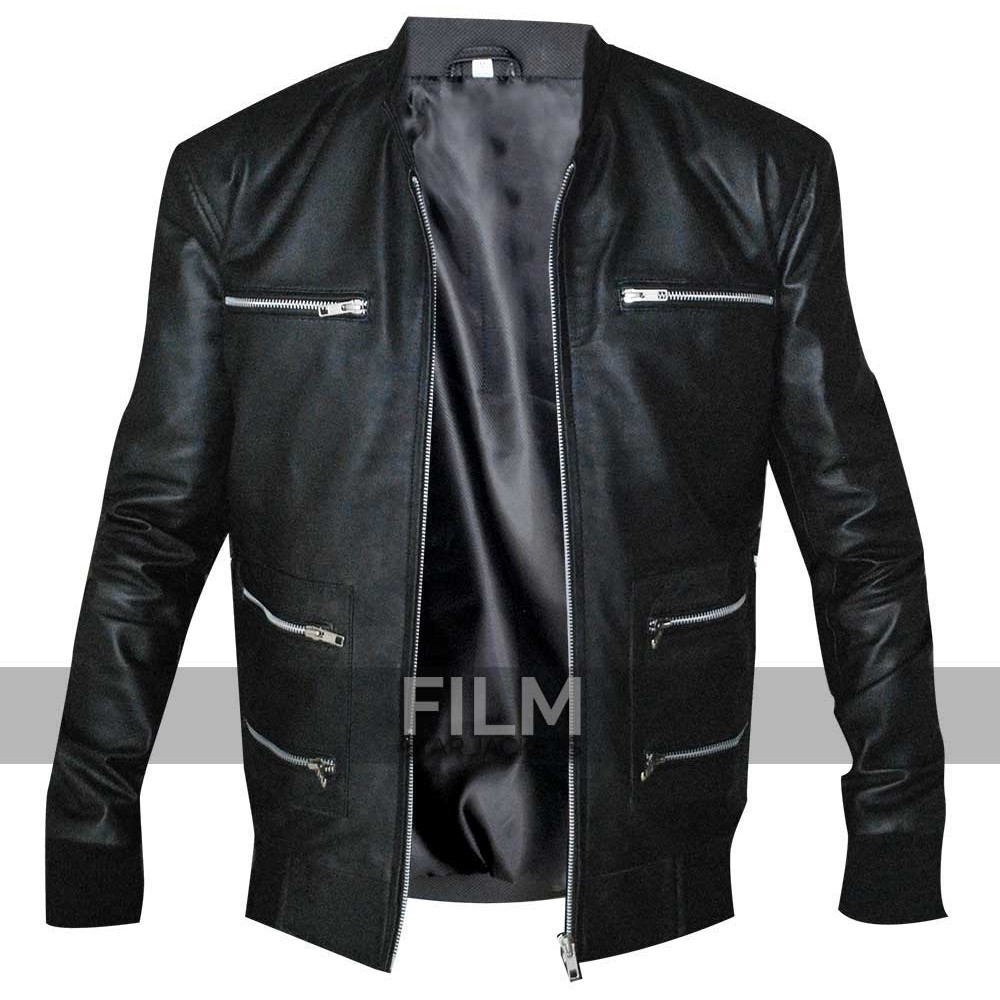 Eminem Grammy Awards Biker Black Leather Jacket