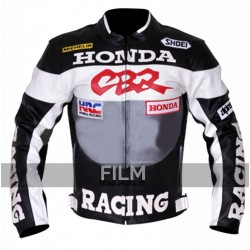 Honda CBR Racing GreyBlack Motorcycle Leather Jacket