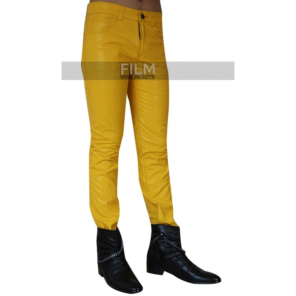 Freddie Mercury Stylish Yellow Leather Pant