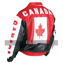 Motorcycle Canadian Flag Leather Jacket