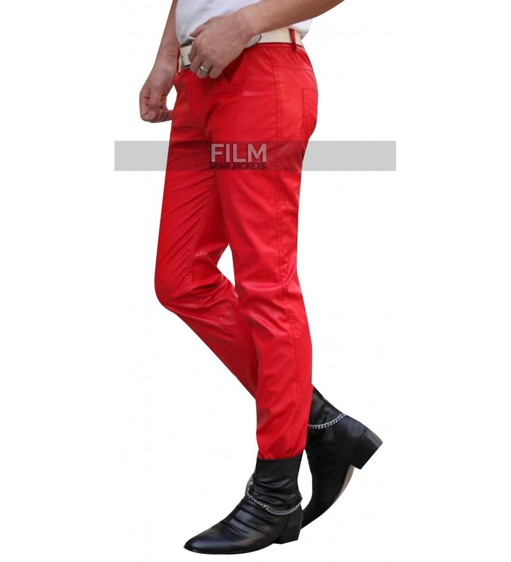 2015 Fashion Sweatpants Men Hip Hop Red Leather Pants