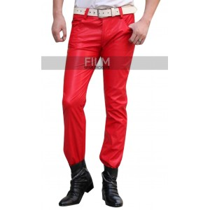 2015 Fashion Sweatpants Men Hip Hop Red Leather Pants