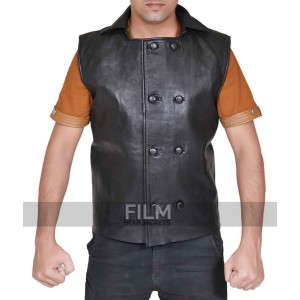 Spiderman Noir Costume Black Leather Jacket Vest