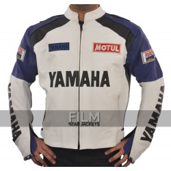 Classic White and Blue Yamaha Motorcycle Jacket