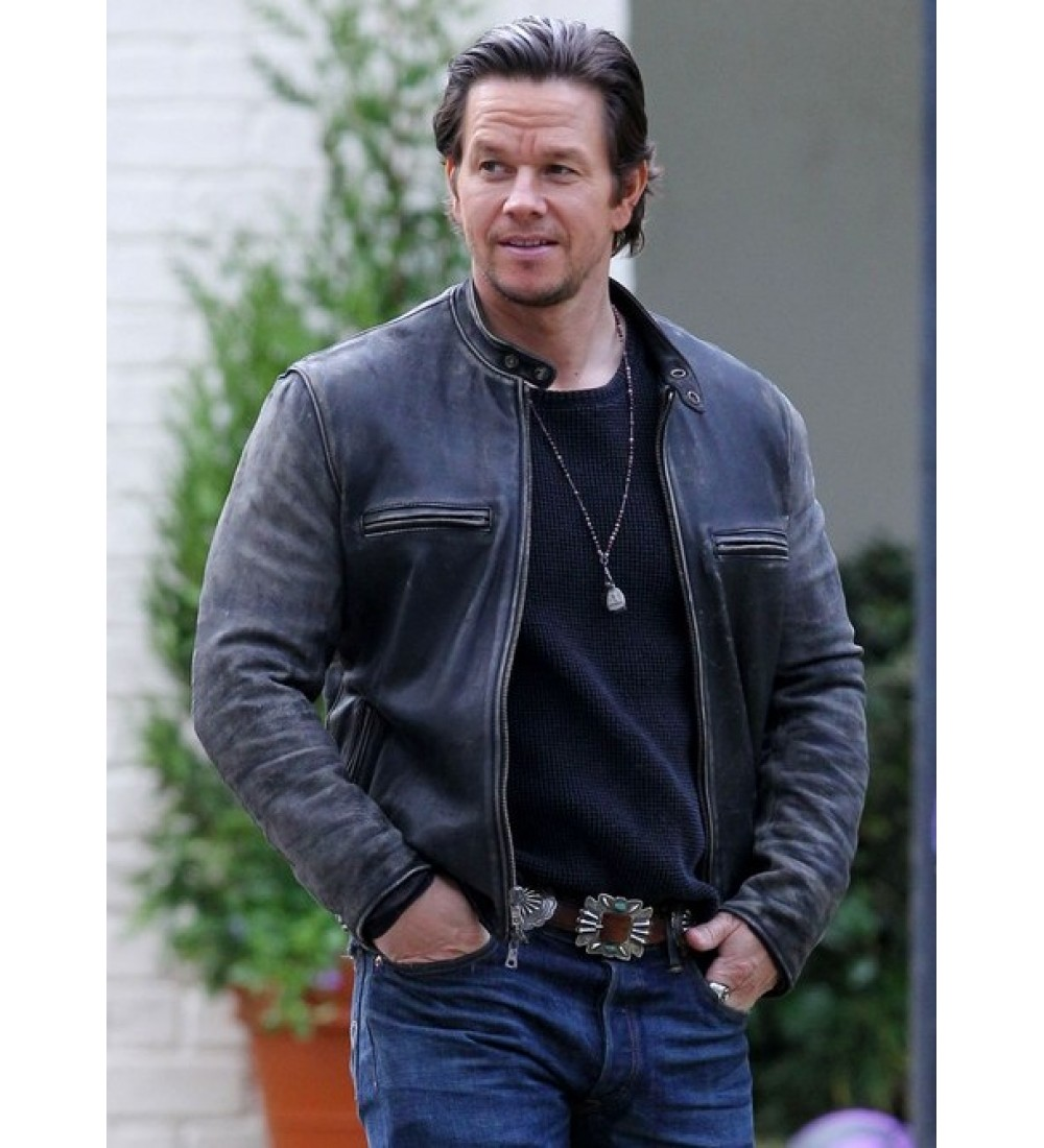 Daddys Home Mark Wahlberg Distressed Biker Leather Jacket