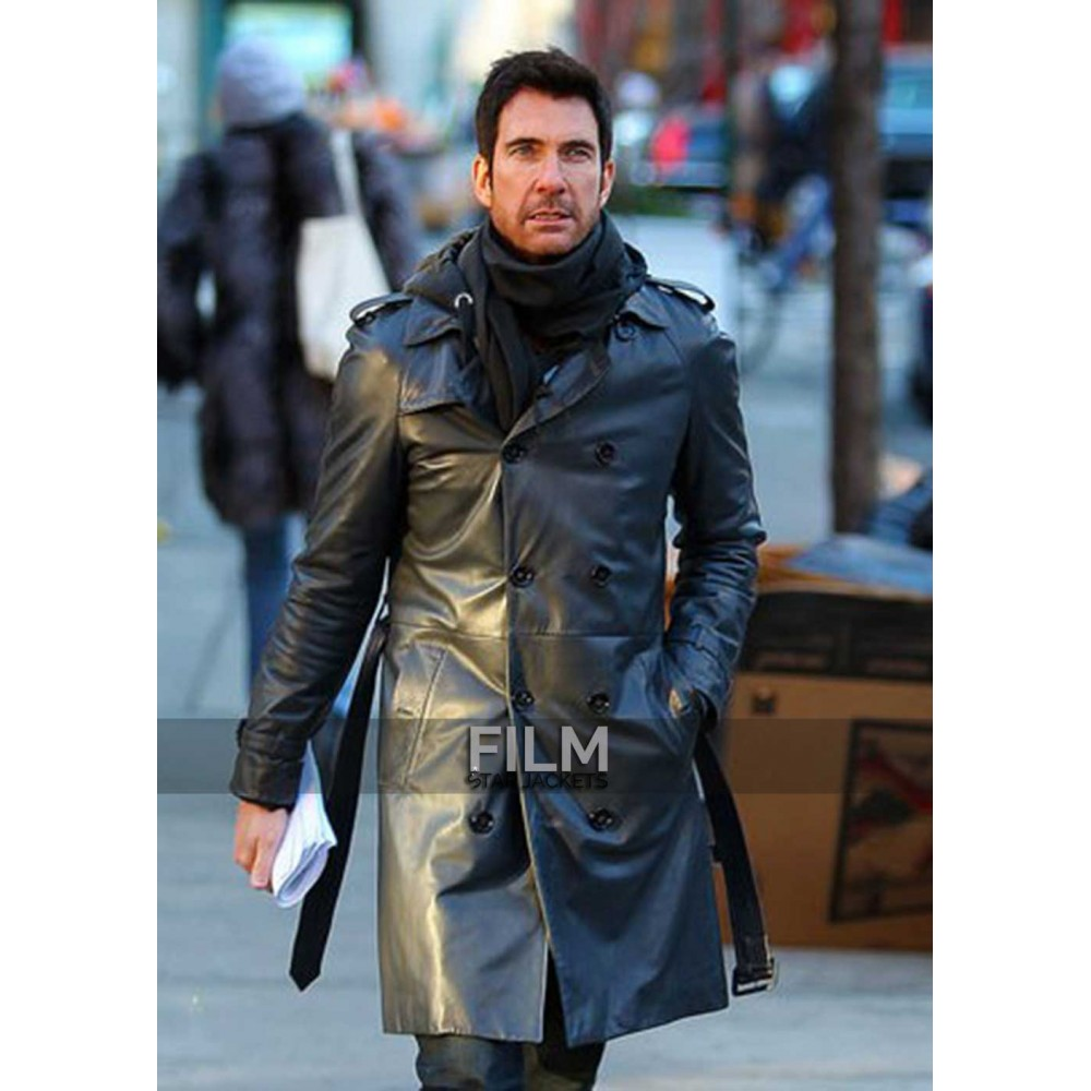 Dylan McDermott Trench Black Leather Coat