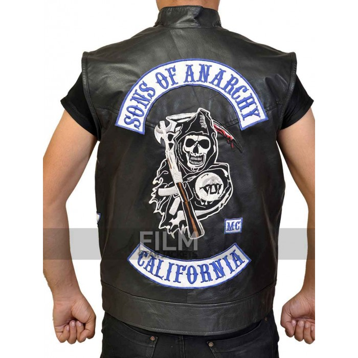 sons of anarchy jax teller biker vest with patches. Black Bedroom Furniture Sets. Home Design Ideas
