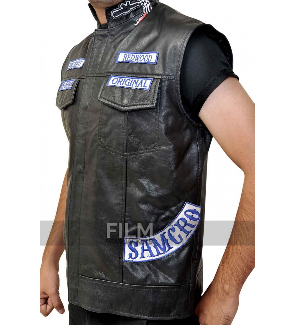 Leather jacket patches - Sons Of Anarchy Jax Teller Biker Vest With Patches