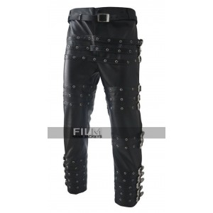 Michael Jackson Bad Black Leather Pants Trousers