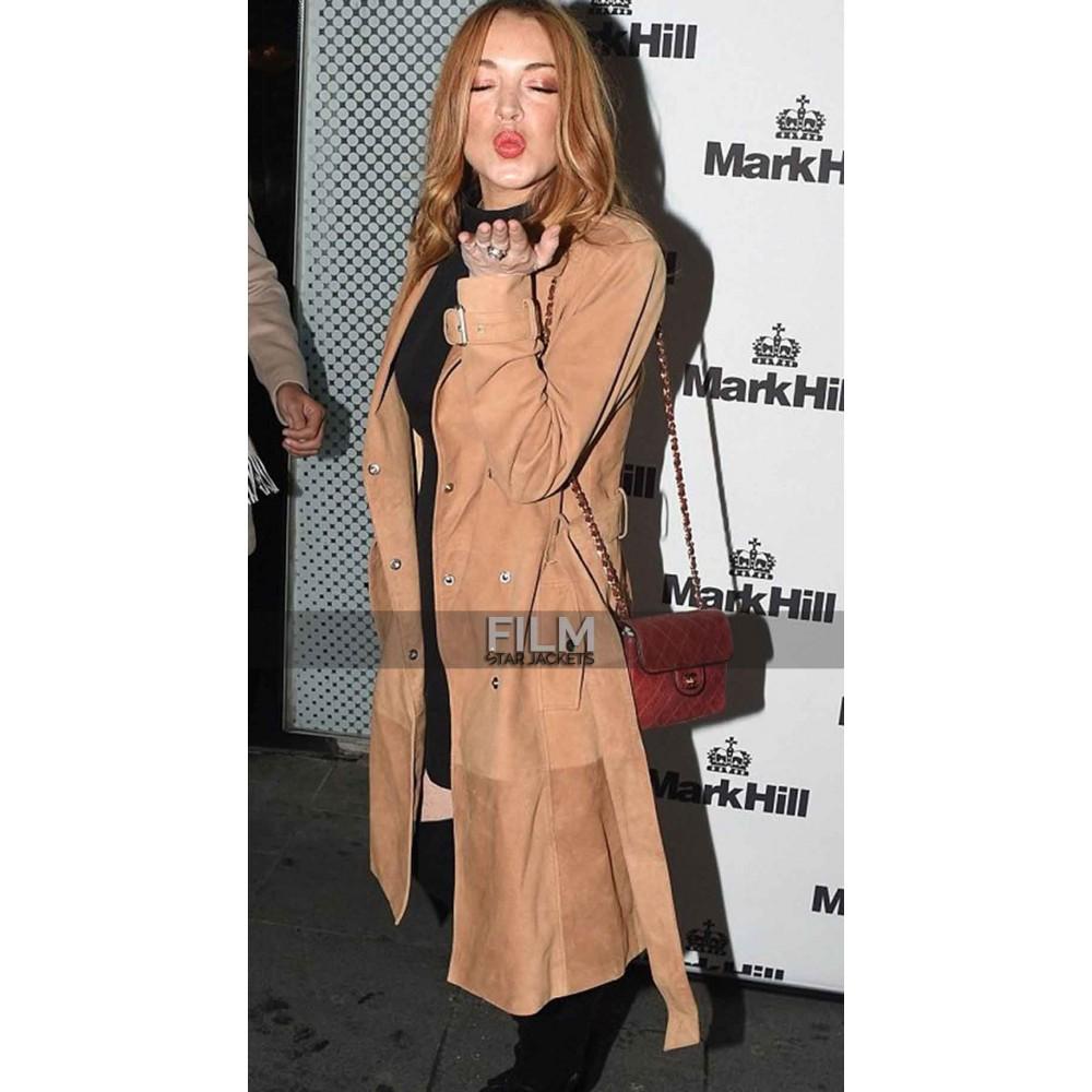 Lindsay Lohan Trench Leather Coat