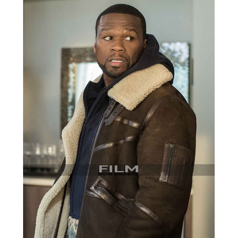 50 Cent Power Brown Leather Fur Jacket