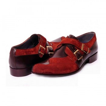Mustang Double Monk Strap Velvet Shoes
