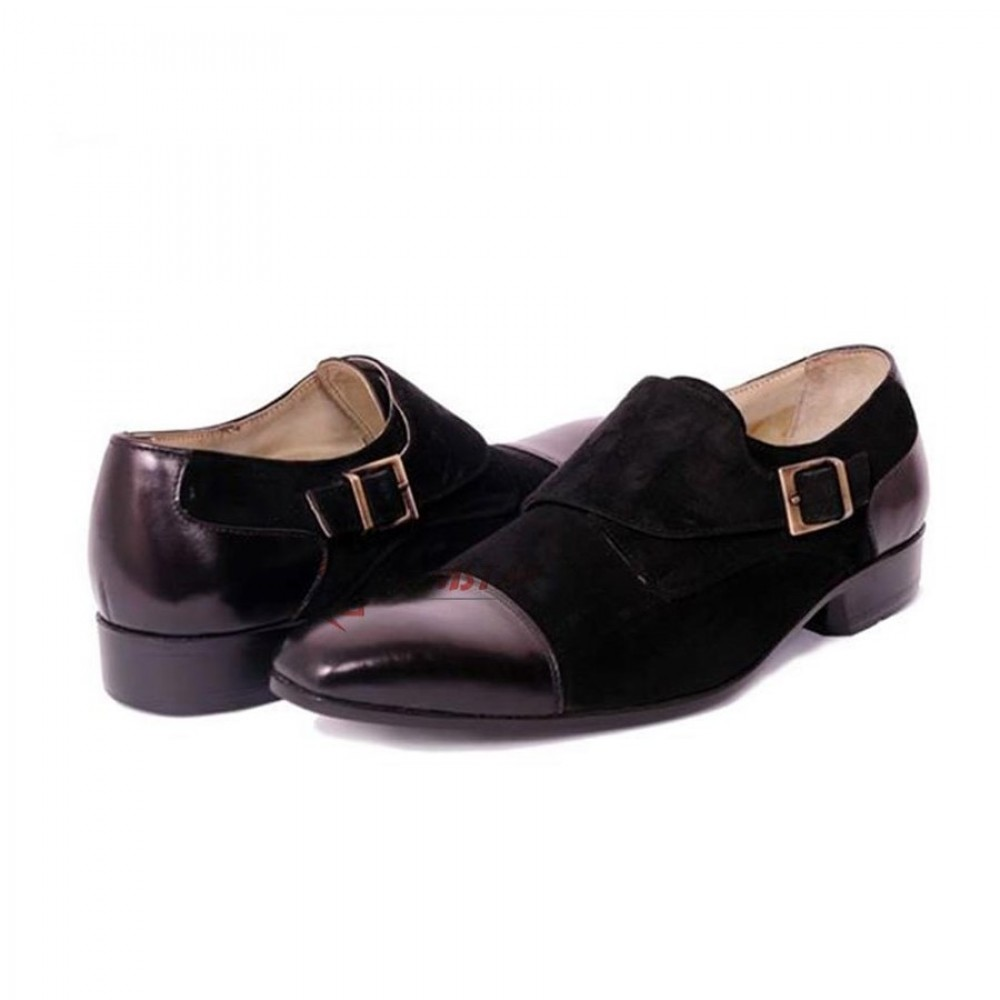 POMPEII Single Monk Strap Formal Black Shoes