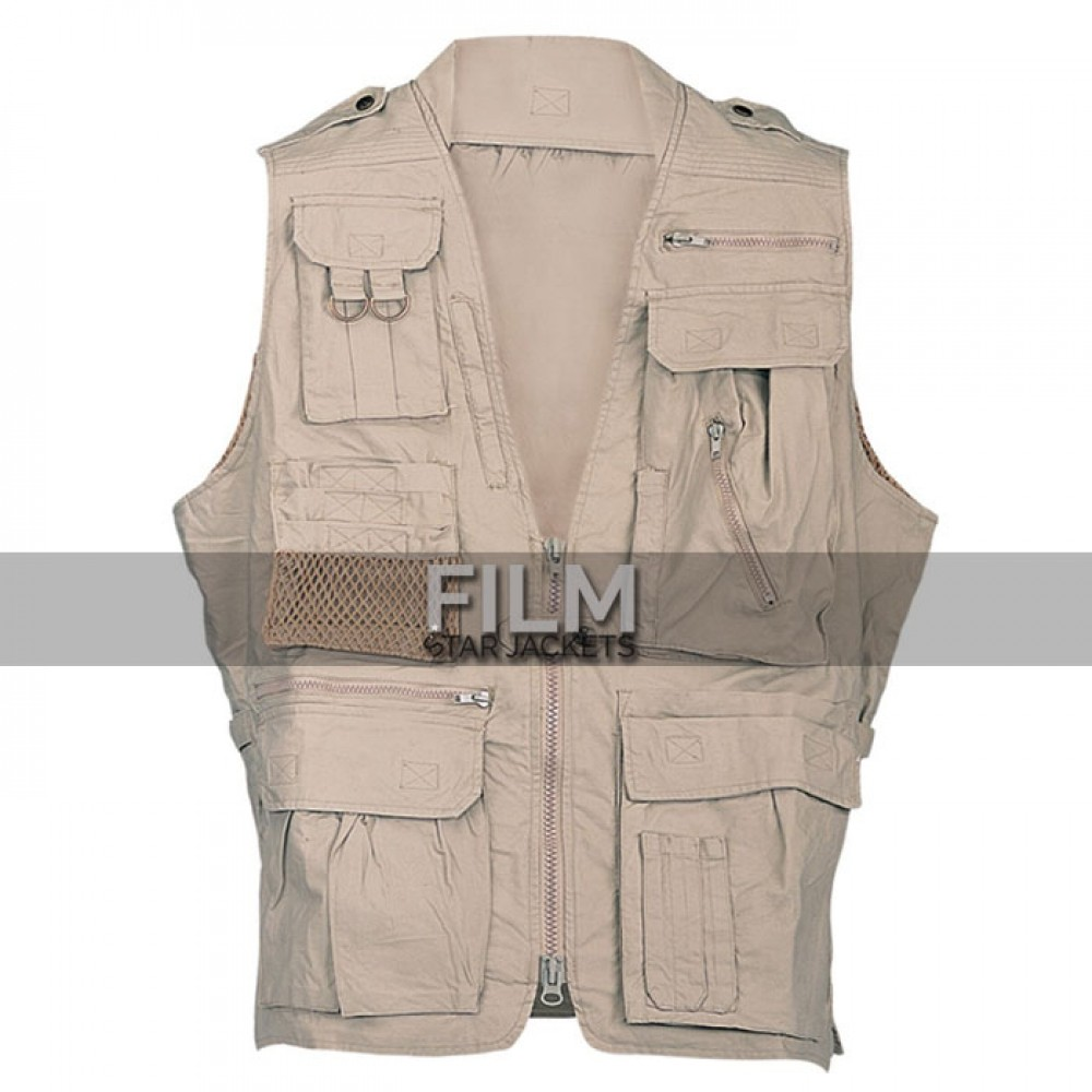 Men khaki Cotton Safari Vest For Sale