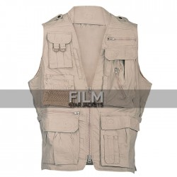 Men khaki Cotton Safari Vest For Sale