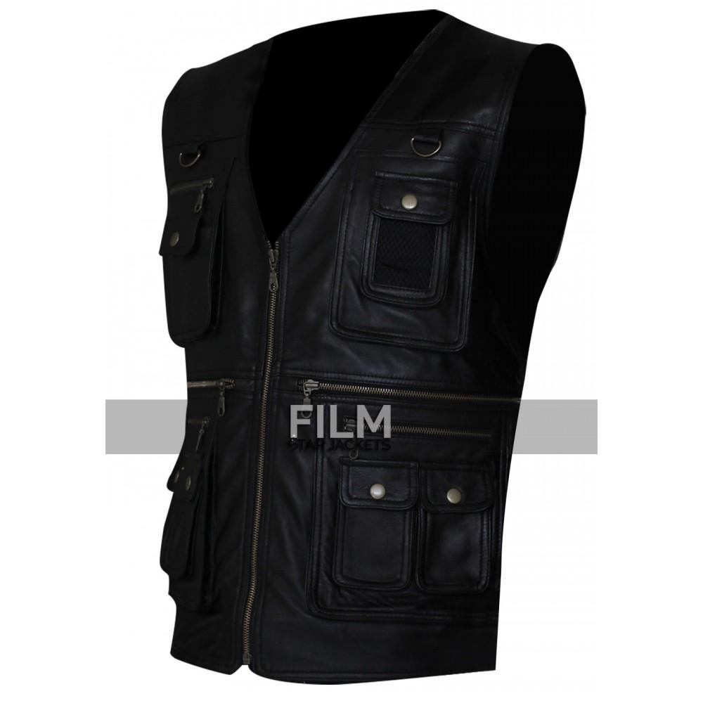 Mens Front Pocket Biker Leather Vest