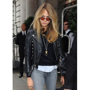 Cara Delevingne Biker Leather Jacket