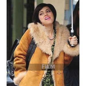 Krysta Rodriguez Brown Fur Coat