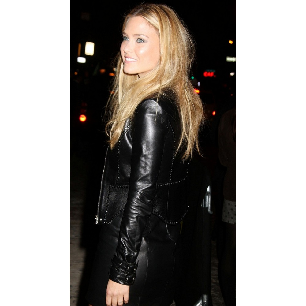 Bar Refaeli Black Leather Jacket