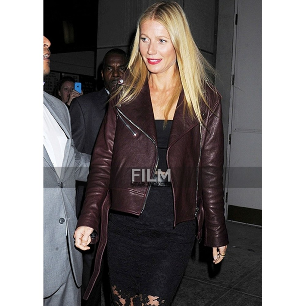 Gwyneth Paltrow Burgundy Leather Jacket