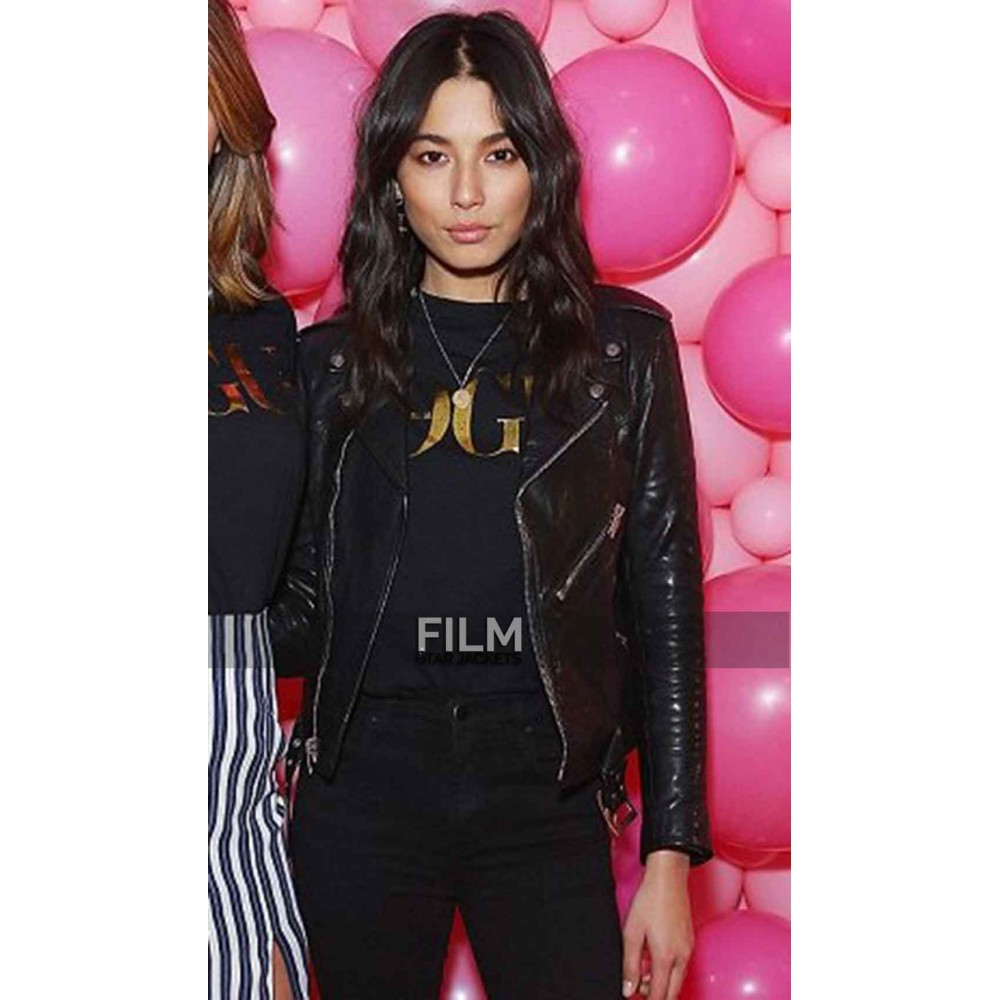 Jessica Gomes Stylish Biker Black Jacket