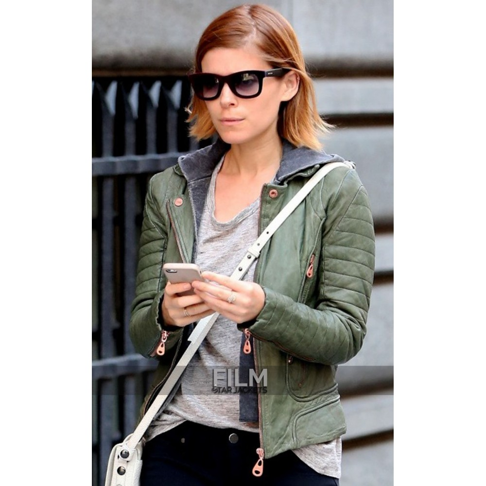 Kate Mara Green Leather Jacket