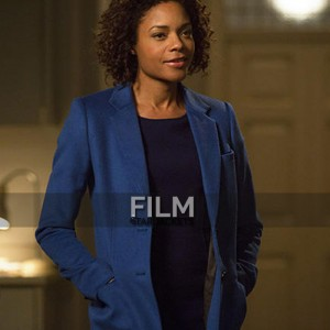 Naomie Harris (Moneypenny) Spectre Blue Cotton Trench Coat