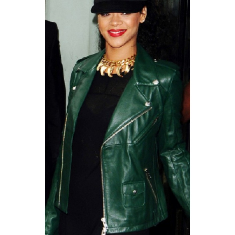 Rihanna Edgy Look Green Biker Leather Jacket