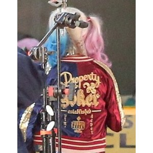 Two Tone, Color Block Harley Quinn Bomber Jacket from the Suicide Squad