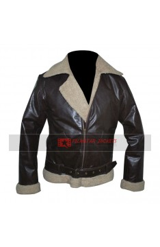Rocky IV Balboa Shearling Winter Bomber Leather Jacket